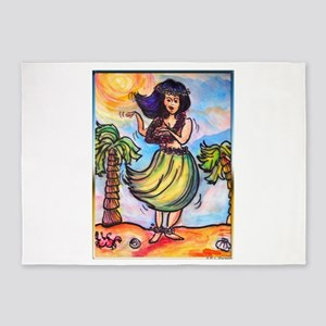 Hula girl, cartoon, Hawaii art 5'x7'Area Rug