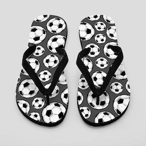 Gray Soccer Ball Pattern Flip Flops