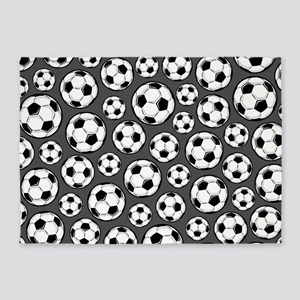 Gray Soccer Ball Pattern 5'x7'Area Rug