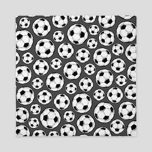 Gray Soccer Ball Pattern Queen Duvet