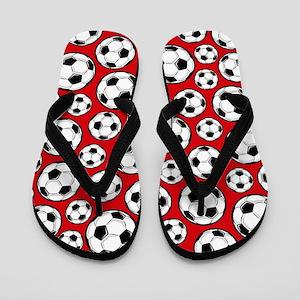 Red Soccer Ball Pattern Flip Flops
