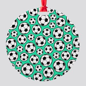 Aqua Turquoise Soccer Ball Pattern Ornament