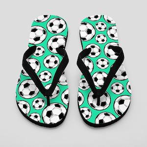 Aqua Turquoise Soccer Ball Pattern Flip Flops