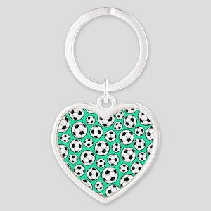 Aqua Turquoise Soccer Ball Pattern Keychains