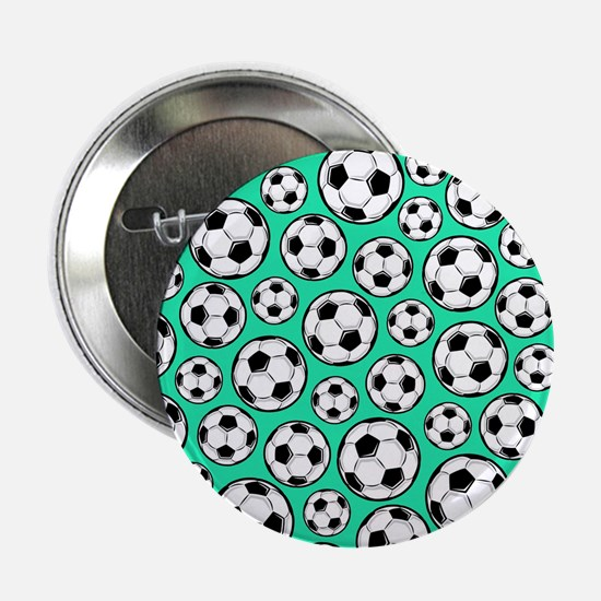 "Aqua Turquoise Soccer Ball Pattern 2.25"" Button (1"