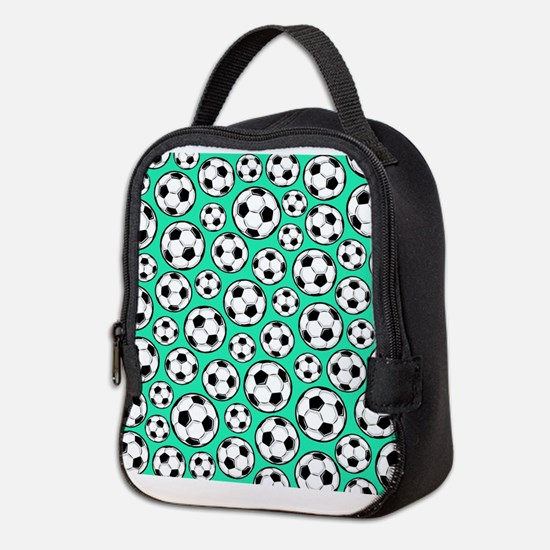 Aqua Turquoise Soccer Ball Pattern Neoprene Lunch