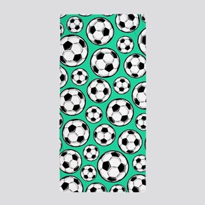 Aqua Turquoise Soccer Ball Pattern Beach Towel