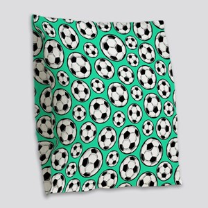 Aqua Turquoise Soccer Ball Pattern Burlap Throw Pi