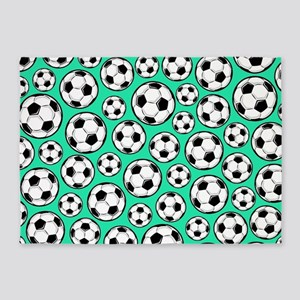 Aqua Turquoise Soccer Ball Pattern 5'x7'Area Rug