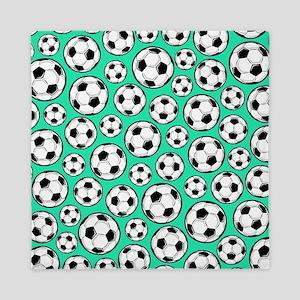 Aqua Turquoise Soccer Ball Pattern Queen Duvet
