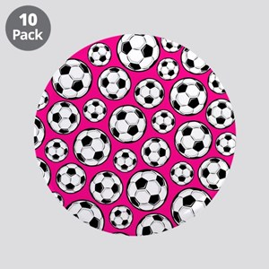 "Pink Soccer Ball Pattern 3.5"" Button (10 pack)"