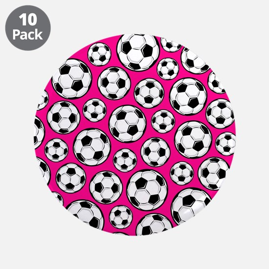 "Pink Soccer Ball Pattern 3.5"" Button (10 pack)"