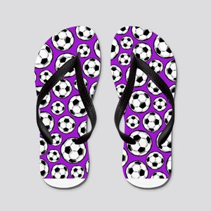 Purple Soccer Ball Pattern Flip Flops