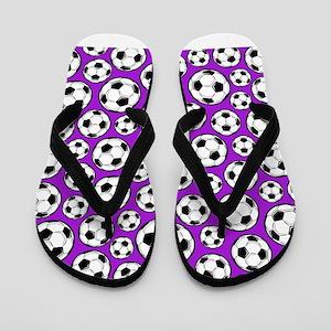 Purple Soccer Ball Pattern Flip Flops