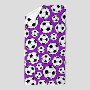 Purple Soccer Ball Pattern Beach Towel