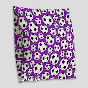 Purple Soccer Ball Pattern Burlap Throw Pillow