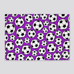 Purple Soccer Ball Pattern 5'x7'Area Rug