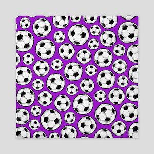 Purple Soccer Ball Pattern Queen Duvet