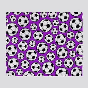 Purple Soccer Ball Pattern Throw Blanket