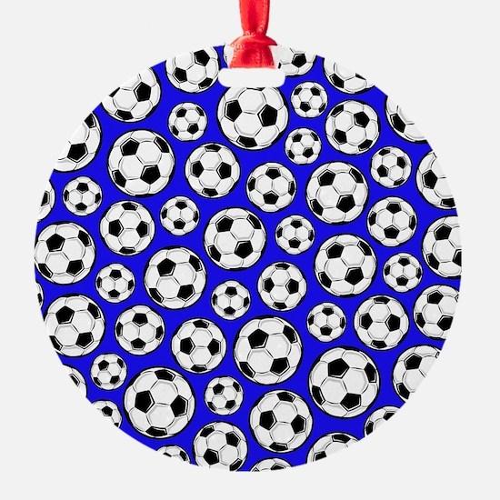 Royal Blue Soccer Ball Pattern Ornament