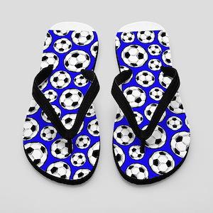 Royal Blue Soccer Ball Pattern Flip Flops