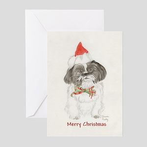 Black & White Shih Tzu Christmas Greeting Cards