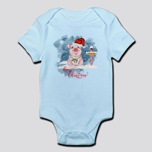 Merry Christmas Pig North Pole Body Suit