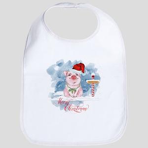 Merry Christmas Pig North Pole Baby Bib