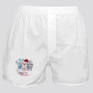 Merry Christmas Pig North Pole Boxer Shorts