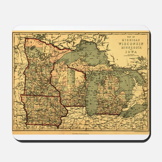 Midwest map 1873 Mousepad