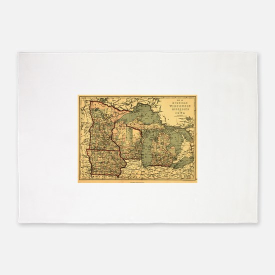 Midwest map 1873 5'x7'Area Rug