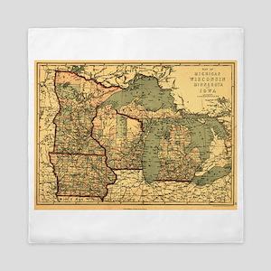 Midwest map 1873 Queen Duvet