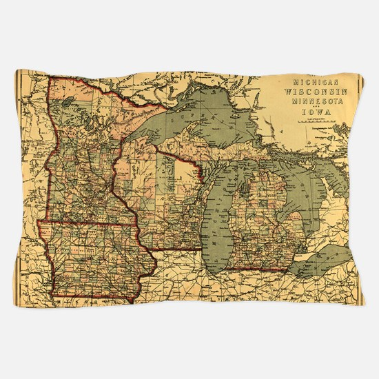 Midwest map 1873 Pillow Case