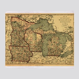 Midwest map 1873 Throw Blanket