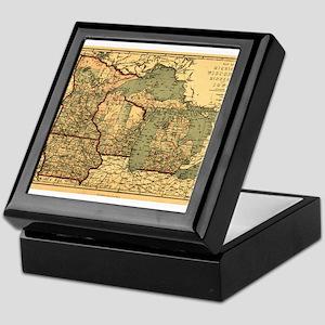 Midwest map 1873 Keepsake Box