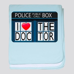 Police Call Box I Love The Doctor baby blanket