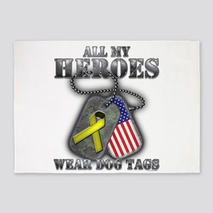 All My Heroes Wear Dog Tags 5'x7'Area Rug