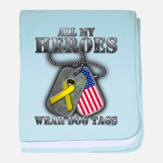 All My Heroes Wear Dog Tags baby blanket