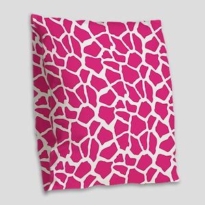 Pink and White Giraffe Pattern Animal Print Burlap