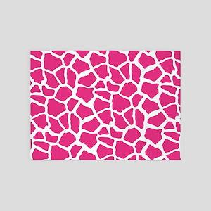 Pink and White Giraffe Pattern Animal Print 5'x7'A