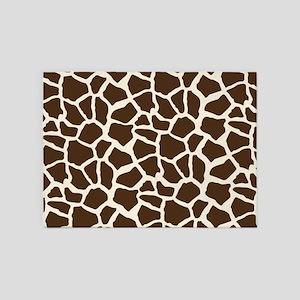 Brown and Tan Giraffe Pattern Animal Print 5'x7'Ar