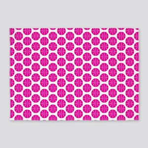 Pink and White Basketball Pattern 5'x7'Area Rug