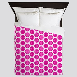 Pink and White Basketball Pattern Queen Duvet