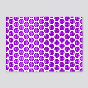 Purple and White Basketball Pattern 5'x7'Area Rug