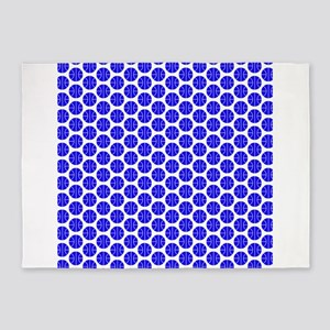 Royal Blue and White Basketball Pattern 5'x7'Area