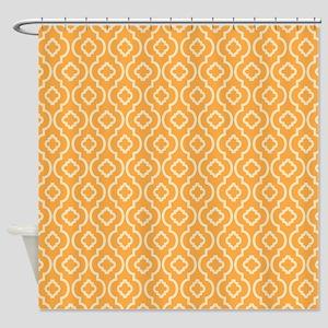 Yellow - Orange Geometric Retro Pattern Shower Cur