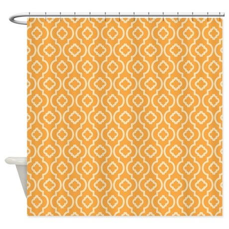 YELLOW - ORANGE GEOMETRIC RETRO PATTERN SHOWER CUR