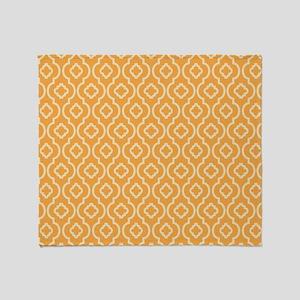 Yellow - Orange Geometric Retro Pattern Throw Blan