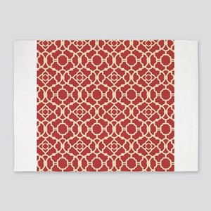 Red and Cream Vintage Damask Pattern 5'x7'Area Rug