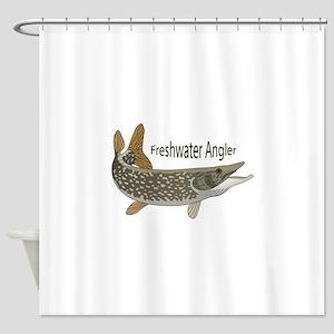 FRESHWATER ANGLER Shower Curtain